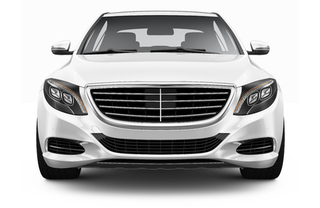 car front: White luxury car