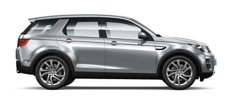 Moder zilver SUV zijaanzicht Stockfoto