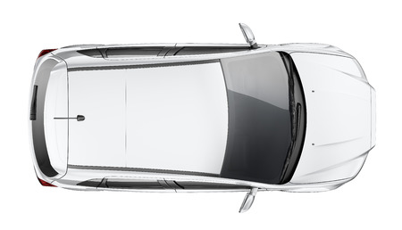 Silver Suv car  top view