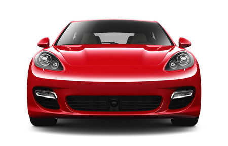 Red luxury car  front view Редакционное