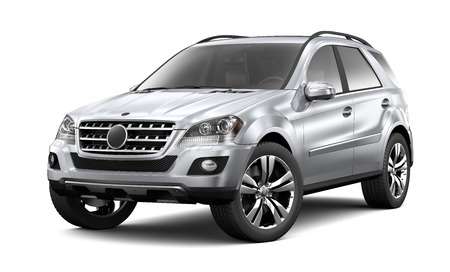 Silver heavy SUV on white background