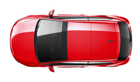 Compact red car  top angle Stock Photo