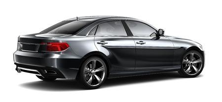 Black sedan car - rear view