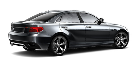 black car: Black sedan car - rear view