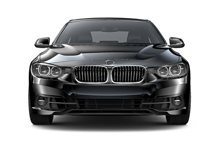 Black executive car - front view