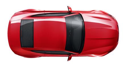 shiny: Red sports car - top angle Stock Photo