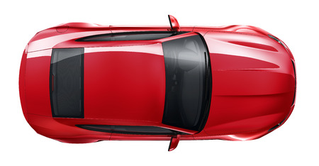Red sports car - top angle Stock Photo