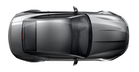 Black sports car - top angle