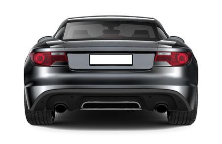 white car: Black sports coupe car - rear angle
