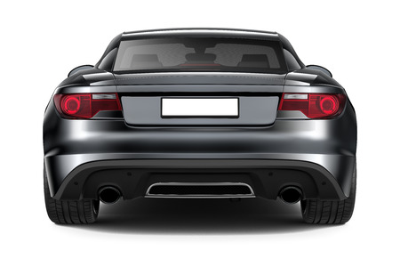 Black sports coupe car - rear angle