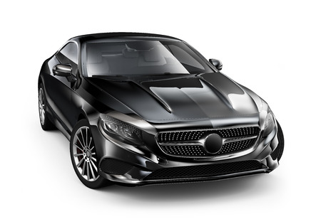 car glass: Modern black coupe car