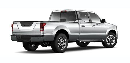 camioneta pick up: camioneta de plata en blanco