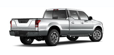 SIlver pickup truck on white