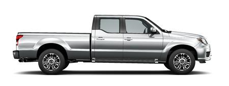 銀ピックアップ トラック - 側面図