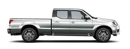 pickup truck: Silver pickup truck -  side view Stock Photo