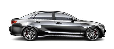 黒の高級車のサイドビュー 写真素材