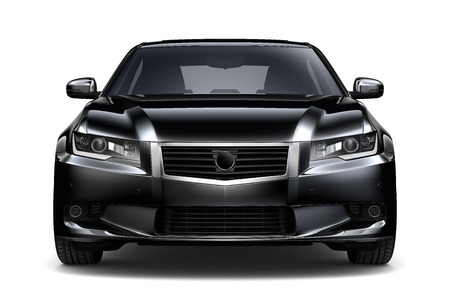 car front: Black car - front view