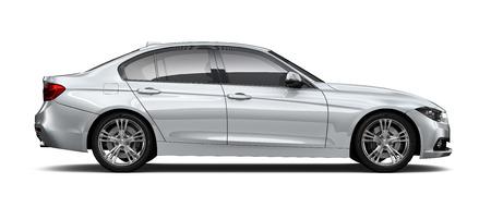 Silver sedan car - side angle