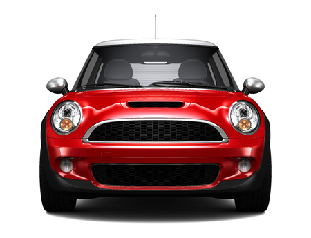 car front: Compact red car - front view Stock Photo