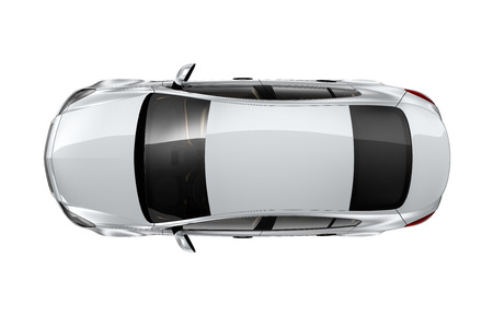 Silver car isolated on white - top view 写真素材