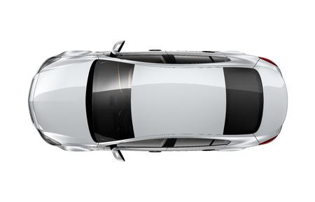 銀車白 - トップ ビューで隔離 写真素材