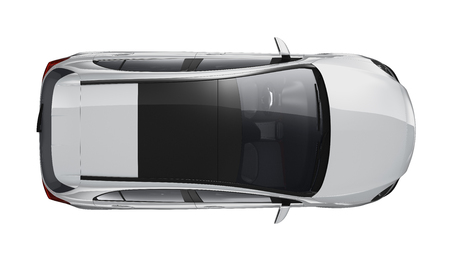 Silver hatchback car - top view