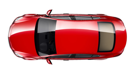Red car - top view