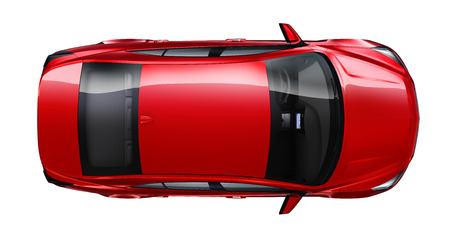 Red sedan car - top angle