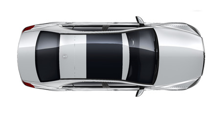 silver reflection: Luxury car - top angle