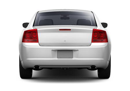White sedan car - rear view