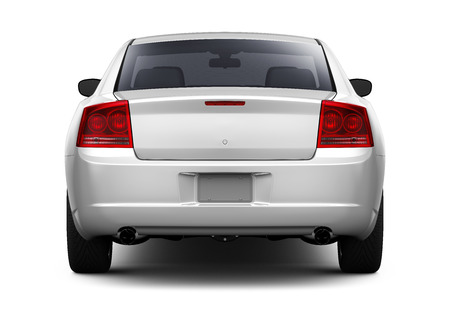 White sedan car - rear view Stock Photo - 61442190
