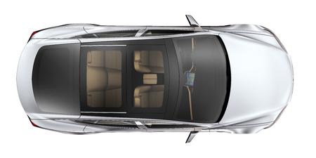 Zilveren auto - bovenaanzicht