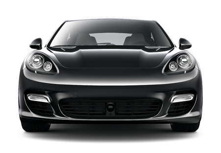 Black sport car - front view Editorial