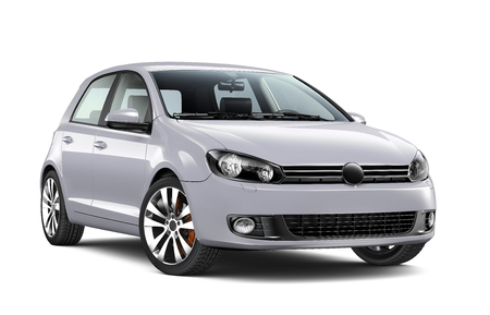 Compact silver hatchback car