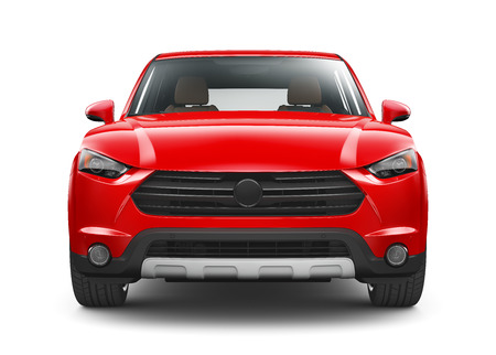 Red SUV - front view Stock Photo