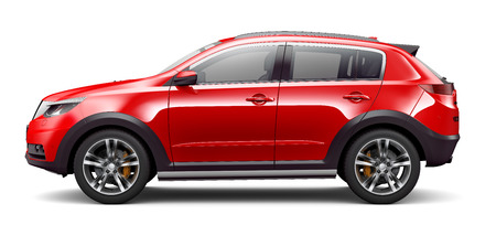 Red compact SUV - side view