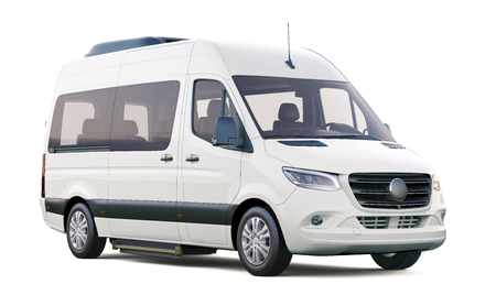 White minibus isolated on white Stock Photo