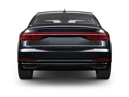 Achteraanzicht van zwarte sedan auto