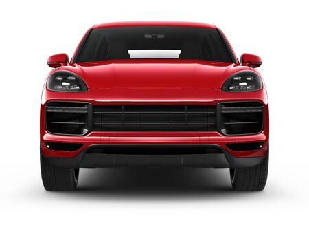 Red luxury SUV car on white background