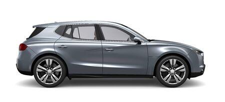 Compacte zilveren SUV - zijaanzicht