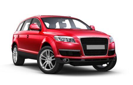 Rode SUV geïsoleerd op witte achtergrond Stockfoto