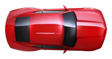 Red muscle car - top view Imagens
