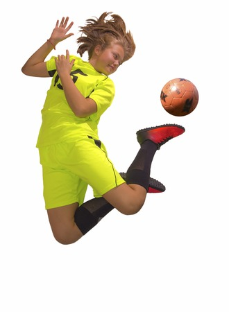 futbol infantil: Female Soccer Player jump with ball. Isolated white Foto de archivo