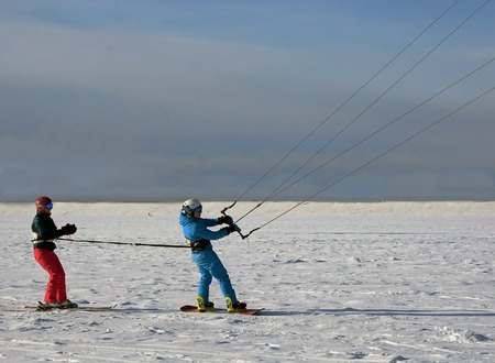 snowkiting: Tandem Snow kiting. Two extremals to snowkiting tougether