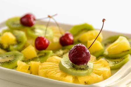 Fresh fruits salad with cherries
