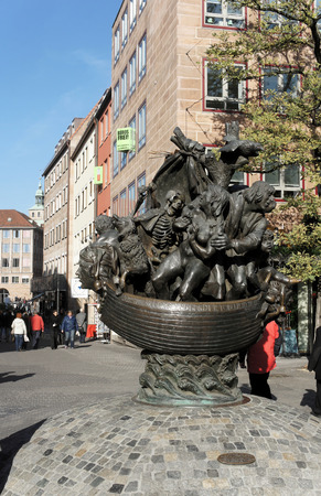 weber: Sculpture the Ship of fools in Nuremberg, Germany.