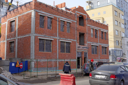 malaya: Nizhny Novgorod, Russia. - March 25.2016. House under construction on Malaya Pokrovskaya Editorial