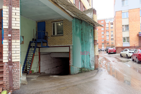 multistory: Nizhny Novgorod, Russia. - April 04.2016. The entrance to the underground parking lot of a multistory building