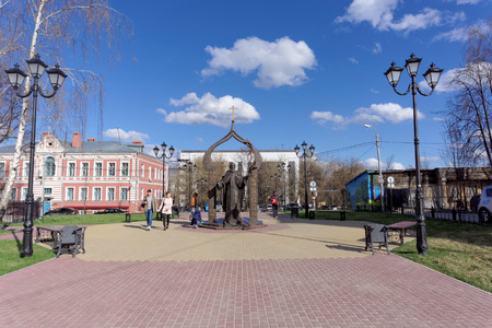 54: Nizhny Novgorod, Russia. - April 22.2016. Monument to St. Sergius of Radonezh on Ilyinskaya Street 54 Editorial