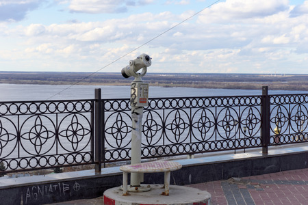 clavados: Nizhny Novgorod, Russia. - April 22.2016. Fixed pay telescope on the Fedorovsky embankment